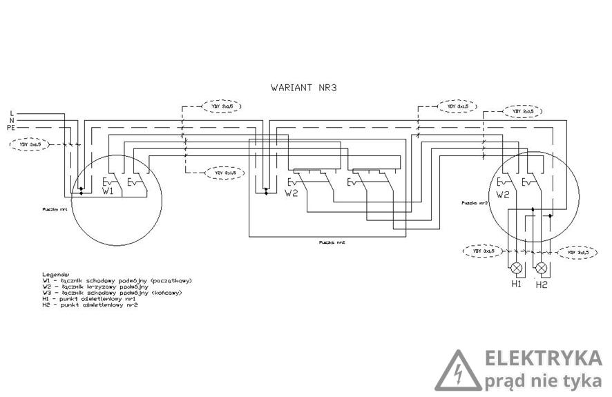 RYS. 16. Wariant nr 3 – połączenie dwóch łączników podwójnych schodowych + łącznika krzyżowego podwójnego
