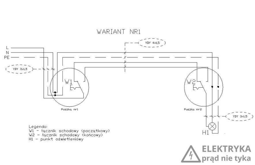 RYS. 3. Wariant nr 1 połączenia dwóch łączników schodowych