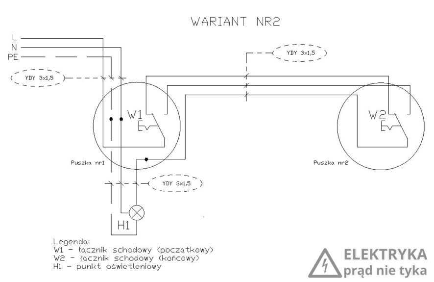 RYS. 5. Wariant nr 2 połączenia dwóch łączników schodowych