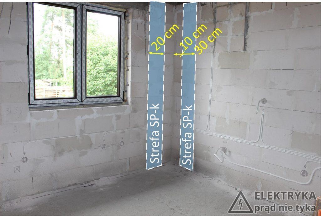 SP-k Pionowe strefy instalacyjne w kątach pomieszczeń
