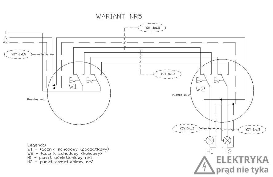 RYS. 10. Wariant połączeniowy – łącznik schodowy podwójny