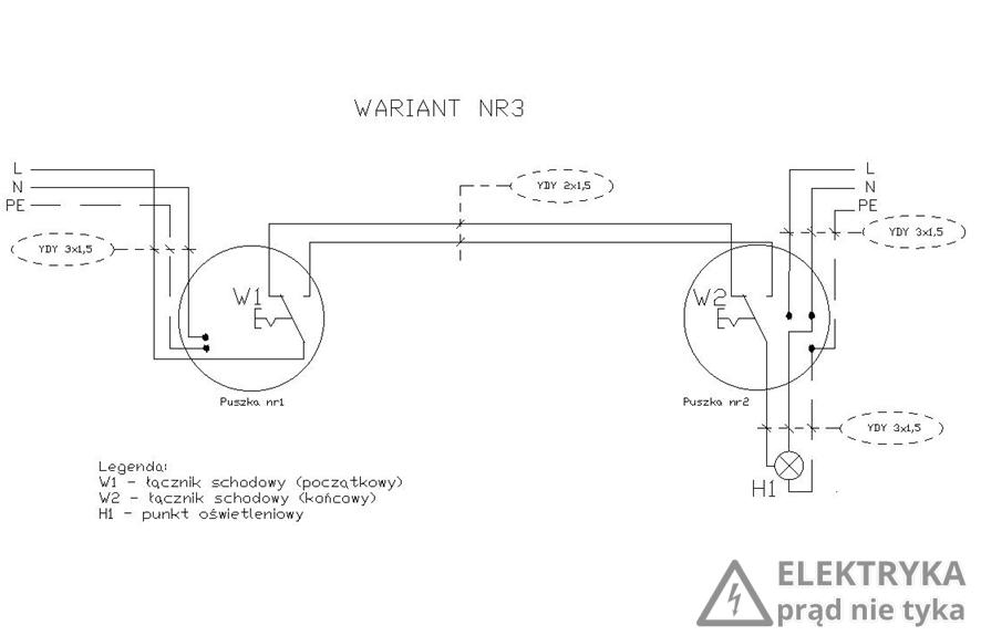 RYS. 6. Wariant nr 3 połączenia dwóch łączników schodowych