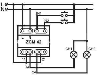 Programator czasowy ZCM-42 schemat zamel