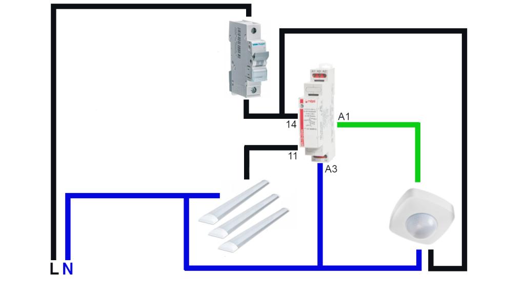Poglądowy schemat sterowania oświetleniem led z wykorzystaniem czujnika ruchu