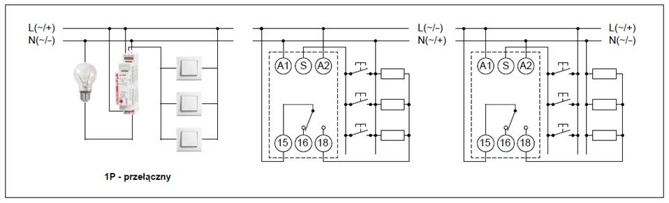 Schemat połączeń przekaźnika RPB-1PM-UNI