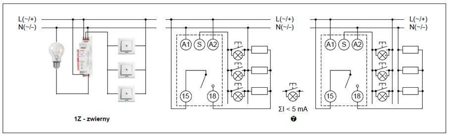 Schemat połączeń przekaźnika RPB-1ZI-A230